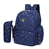 ORIGIN BEAUTY Baby Diaper Bagpack Travel Backpack Handbag with Changing Pad & Stroller Straps, Large Capacity (Blue &Flower)