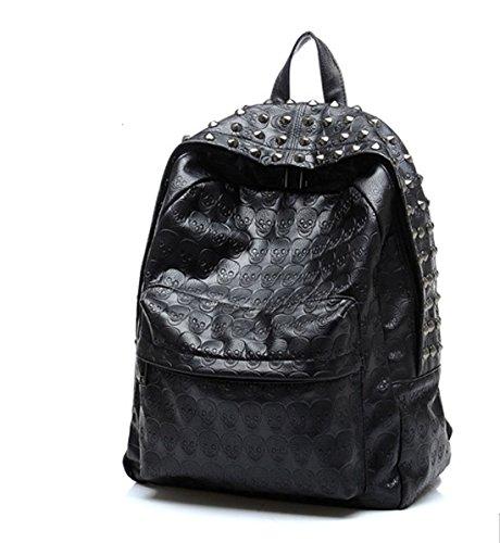 Backpack Bag Rivet PU Skull Womens Black Women Girl - 3