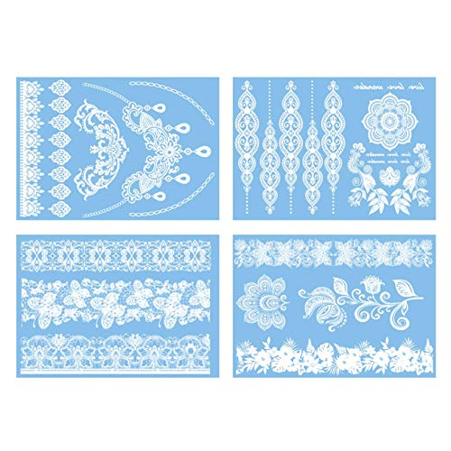 COKOHAPPY 4 Sheets White Lace Wedding Bridal Butterfly Mandala Flower Look Real Flash Temporary -