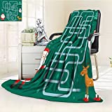 SOCOMIMI Luminous Microfiber Throw Blanket funny christmas maze game santa claus is choosing christmas friends new year Glow In The Dark Constellation Blanket, Soft And Durable Polyester(60''x 50'')