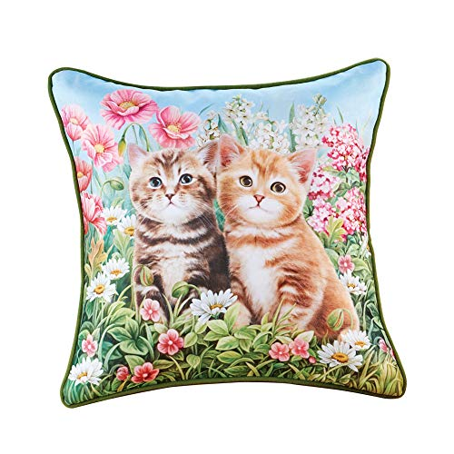 Collections Etc Cat Garden Throw Pillow with Green Piping - Home Décor for Any Room, Gift Idea for Cat Lover