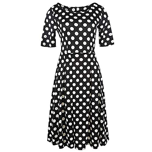 Dress O Neck Pockets High Low Pleated Loose Swing Casual Midi Dress Fashion Vintage Patchwork Pockets Puffy Swing Print Casual Party Dress Womens (L,Black)