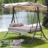 Outdoor 3 Triple Patio Deck Hammock Swing Bed ~ Tan