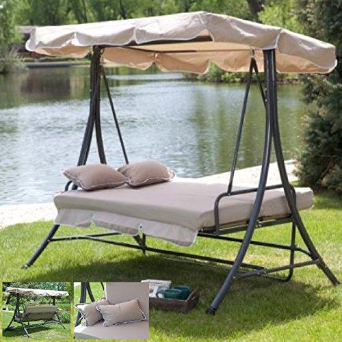 Outdoor 3 Triple Patio Deck Hammock Swing Bed ~ Tan (Swing Bed Outdoor)
