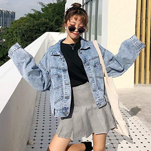 Blue Jacket Boyfriend Long Women's Loose Students' Jean Light Short Jacket Denim Sleeve Jacket qnppE7xXO