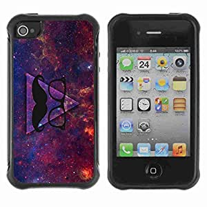 A-type Arte & diseño Anti-Slip Shockproof TPU Fundas Cover Cubre Case para Apple iPhone 4 / 4S ( Awesome Hipster Moustache Triangle )