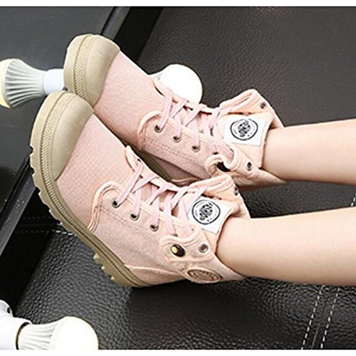 Shoes Toe Heel Casual Calf Mid Women's Round Combat Black Comfort Canvas Fall Boots HSXZ Khaki Low Shoes Boots Pink Boots ZHZNVX For Walking Button Spring fOwPZx4