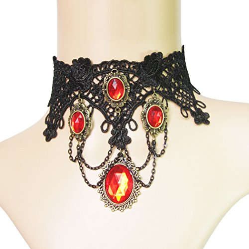 Time Pawnshop Retro Noble Black Lace Elegant Sexy Lady Clavicle Necklace