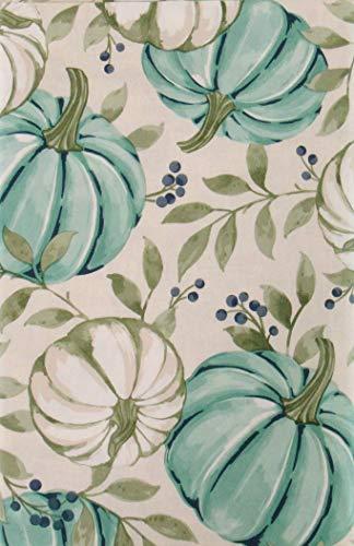 "Autumn Pumpkins, Vines and Berries Vinyl Flannel Back Tablecloth (Blue Pumpkins, 52"" x 70"" Oblong)"