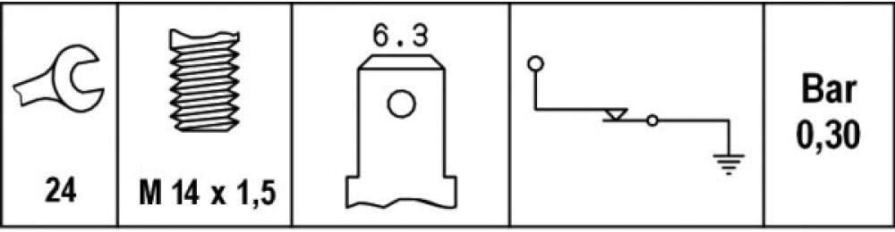 0,35 bis 0,55 bar HELLA 6ZL 003 259-171 /Öldruckschalter Gewindema/ß M14x1,5