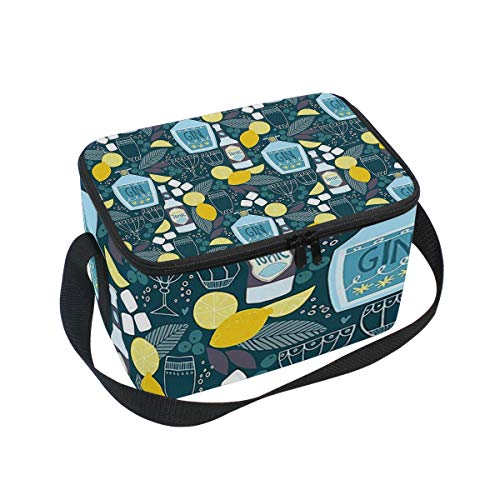 Lunch Bag Cooler Tote Bag Gin And Tonic Lunchbox Meal Prep Handbag for Picnic School Women Men -