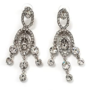 Amazon stunning clear swarovski crystal chandelier earrings stunning clear swarovski crystal chandelier earrings silver tone aloadofball Image collections