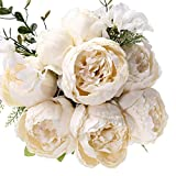 Uworld Fake Artificial Flowers Vintage Silk Peony Flowers Bouquet for Home Wedding Centerpieces Décor and DIY,Ivory