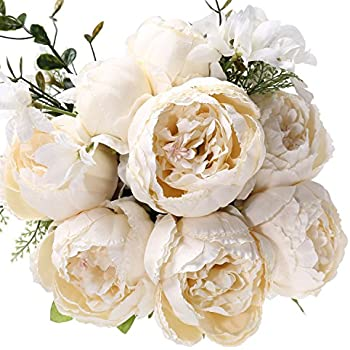 Fake Artificial Flowers Vintage Silk Peony Flowers Bouquet for Home Wedding Centerpieces Décor and DIY,Ivory