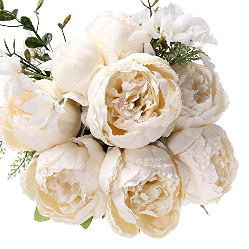 Uworld Fake Artificial Flowers Vintage Silk Peony Flowers Bouquet for Home Wedding Centerpieces Décor and DIY,Ivory (Bouquet Peony Flower)