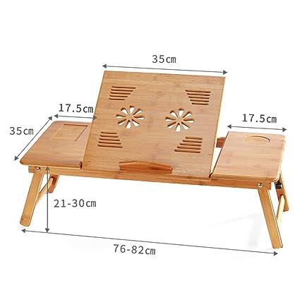 YFUIOVX Mesa Plegable Cama Bambú Cuadrado Escritorio Computadora Tabla del Ordenador portátil, Multifuncional Perezoso Aprender