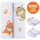 Softest Bamboo Muslin Swaddle Blankets - 2 Gender Neutral Baby Receiving Blankets for Boys & Girls | Unisex Design for Baby Shower Gift | Wrap and Burp Newborn Infants | 70% Bamboo 30% Organic Cotton