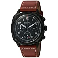 Bulova Men's 'Classic' Quartz Stainless Steel and Leather Watch, Color:Brown (Model: 98B245)
