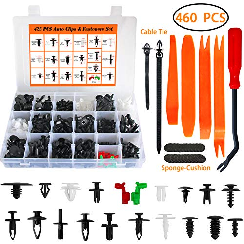 - Auto Body Retainer Clips Plastic Fasteners Push Rivets Clips Set Tailgate Handle Rod Clip 19 MOST Popular Sizes Door Trim Panel Clips 460 PCS With 1 Plastic Fastener Remover For GM Ford Chevy Toyota