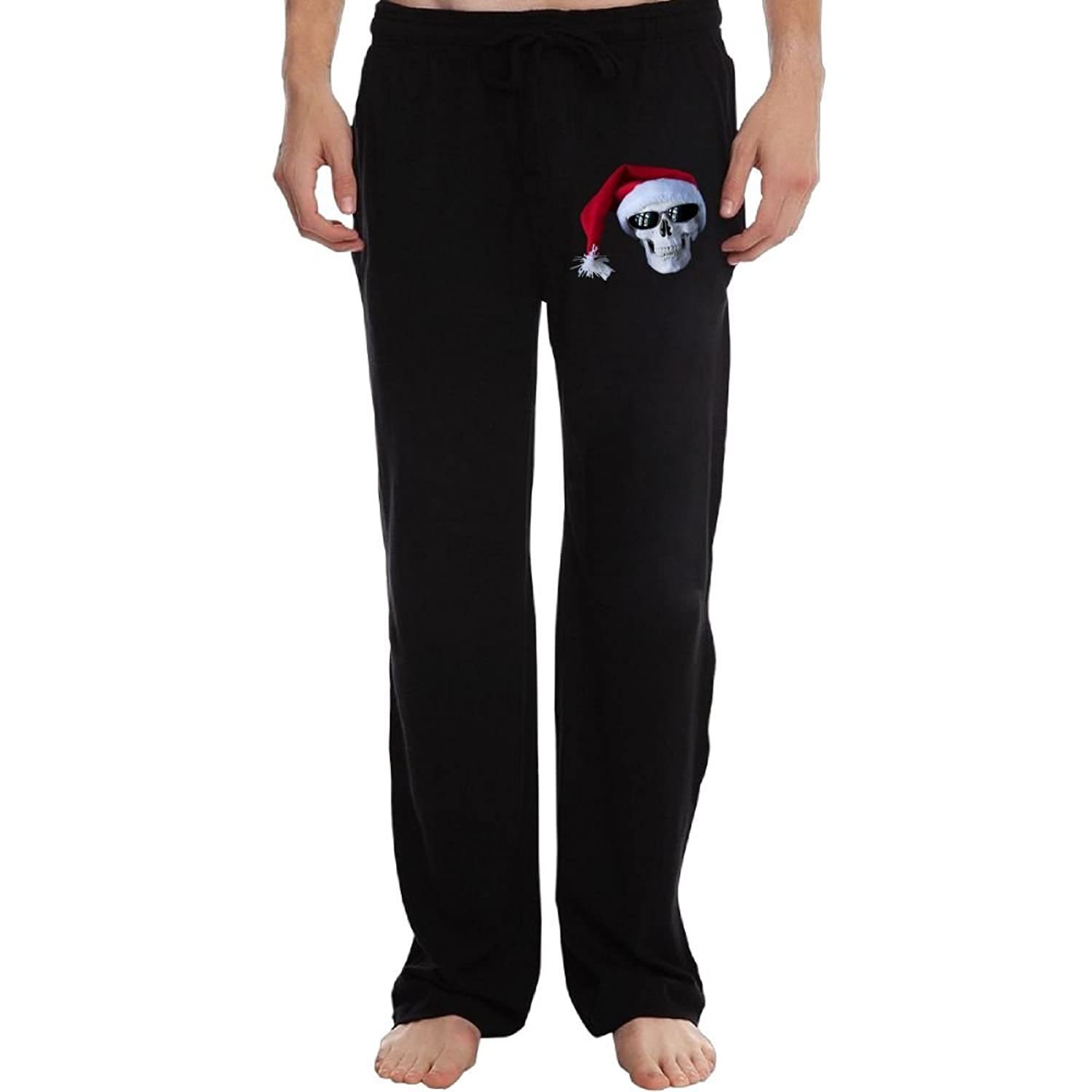 Discount Cindly Skull With Glasses And Christmas Hat Men's Sweatpants With Pockets Cotton Pant