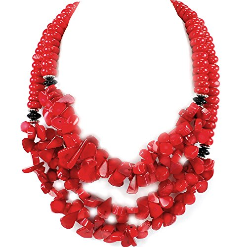 Double strands Red Coral Teardrop Silver Necklace 22''-24''N17041906k
