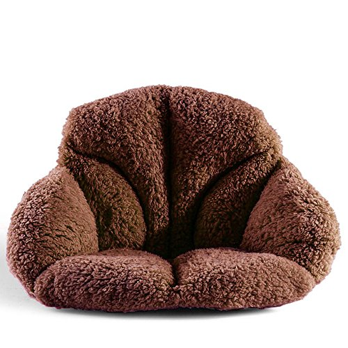 Wool Chair Pads - Hughapy Support Waist Backrest Pad Seat Cushion Cashmere Wool Keep Warm, Best Cushion for Home/Office Chair, Car Seat, Recliner (Coffee)