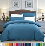 SUSYBAO 2 Pieces Duvet Cover Set 100% Natural Cotton Twin/Single Size 1 Duvet Cover 1 Pillow Sham Solid Teal Hotel Quality Ultra Soft Breathable Comfortable Fade Resistant Bedding with Zipper Ties