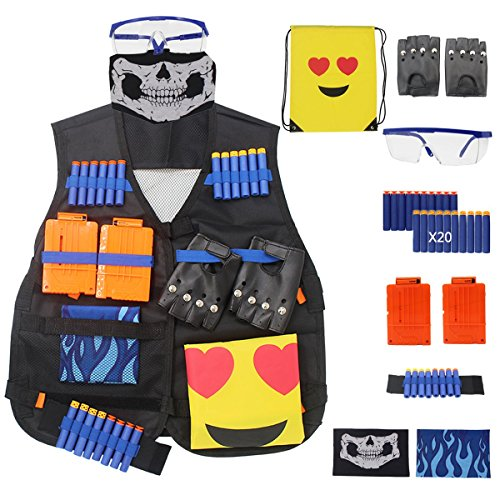 Glove Elite Girls (Tactical Vest Kits for Nerf Gun - N-Strike Elite Jacket Kits Rivet Gloves Protective Glasses 6-darts Reload Clips Hand Wrist Band Refill Bullet Darts Mask And Emoji Backpack)