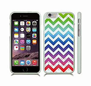iStar Cases? iPhone 6 Plus Case with Chevron Pattern Rainbow/ White Pattern Stripe , Snap-on Cover, Hard Carrying Case (White)