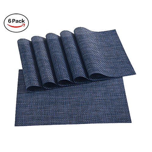 Placemats,Placemats for Dining Table,Heat-resistant Placemats, Stain Resistant Washable PVC Table Mats,Kitchen Table mats,Sets of 6 (1:NAVY)