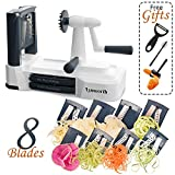 Spiralizer Vegetable Slicer: Lynworth Ultimate 8-Blade: Best Spiral Slicer, Strongest, Heaviest Duty Veggie Pasta Spaghetti Maker for Healthy Low Carb, Paleo, Gluten-Free Meals. Bonus 3 Free Gifts
