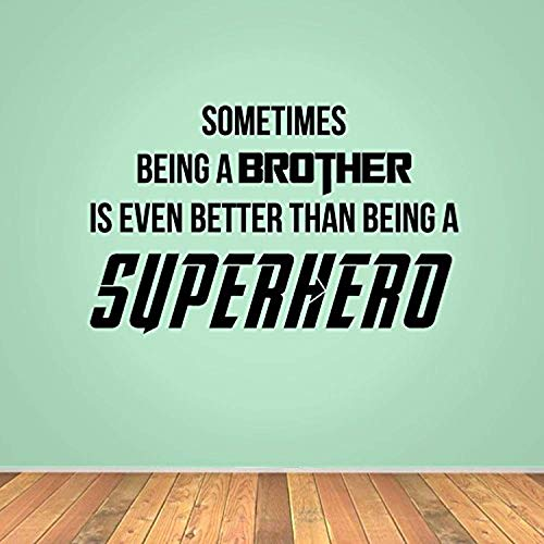 Sometimes Being Brother is Even Better Than Being Superhero Dark Blue Wall Decals Mural Decor Vinyl Sticker SK8797 ()