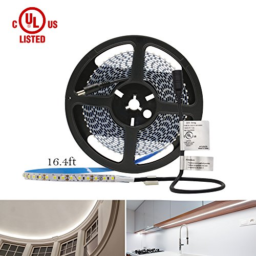 HitLights Neutral White LED Light Strip, Premium High Density 3528-16.4 Feet, 600 LEDs, 4000K, 164 Lumens per Foot. UL-Listed. 12V DC Tape (110 Volt Light Commercial Receiver)
