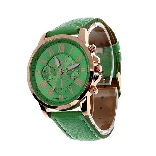 ManxiVoo Women's Geneva Roman Numerals Faux Leather Watches Business Analog Quartz Wrist Watch ()