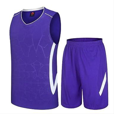 Camisetas de Baloncesto, Camisetas de Baloncesto para Hombre, sin Mangas Hombre Comfortbale Sporting Basketball Jersey y Pantalones Cortos, Adecuado para Estudiantes/Hombres/jóvenes 4XL Púrpura: Amazon.es: Ropa y accesorios