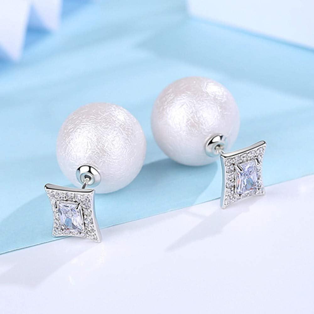ZHWM - Pendientes de aro con piedra cuadrada para mujer, diseño de pendientes redondos de perlas de imitación, para mujer