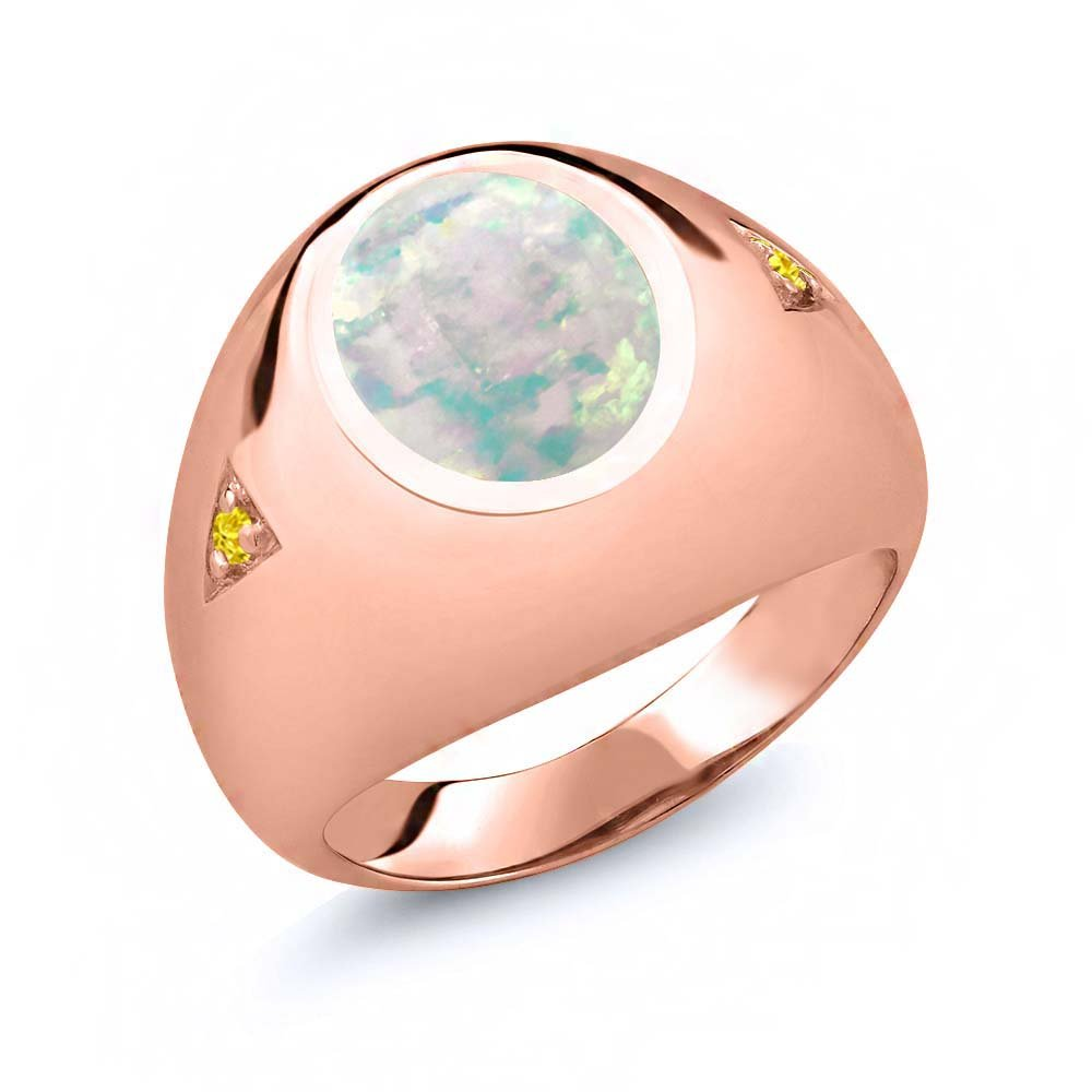 Gem Stone King 4.10 Ct Oval Cabochon White Simulated Opal Yellow Sapphire 18K Yellow Gold Plated Silver Mens Ring