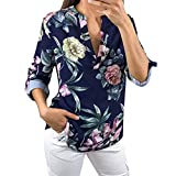 marble high top table - FEITONG Women Ladies V Neck Floral Printing Half Sleeve T-Shirt Irregular Tops Blouse(Large,Blue)