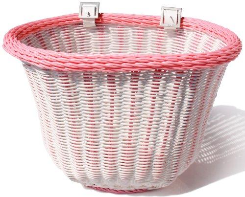 Colorbasket 01334 Adult Front Handlebar Bike Basket, White with Pink Trim