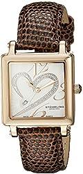 Stuhrling Original Women's 253.1145K2 Amour Aphrodite Courtly Swiss Quartz Date Diamond Brown Genuine Lizard Strap Watch