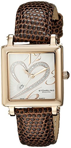 Stuhrling Original Women's 253.1145K2 Amour Aphrodite Courtly Swiss Quartz Date Diamond Brown Genuine Lizard Strap Watch