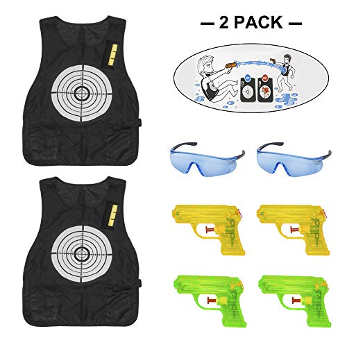 OFUN Nerf Tactical Vest Pack, Two Target Vests for Nerf Games, Water Wars Nerf Vests Game for Two or Groups Water Game, 4 Toy Pistols and Two Safety Goggles ()