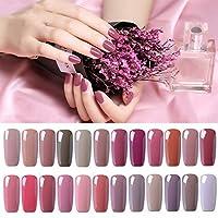 UV nagellack von Clavuz gel shellac set nagellack nail polish set soak off gel Nude Farbe (24xStück 8ML)