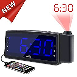 【2018 Upgraded】Projection Alarm Clock Radio - Koviti FM Radio Alarm Clock with Dimmer, Ultra Clear LED Digital Projection Clock to Ceiling Wall, Dual Alarm Snooze Sleep Timer with USB Charging Port