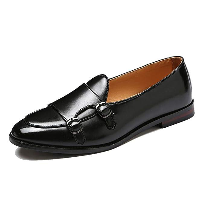 Zapatos Casuales De Los Hombres Mocasines Retro Hebilla De Cinturón Zapatos De La Marea Para Hombre