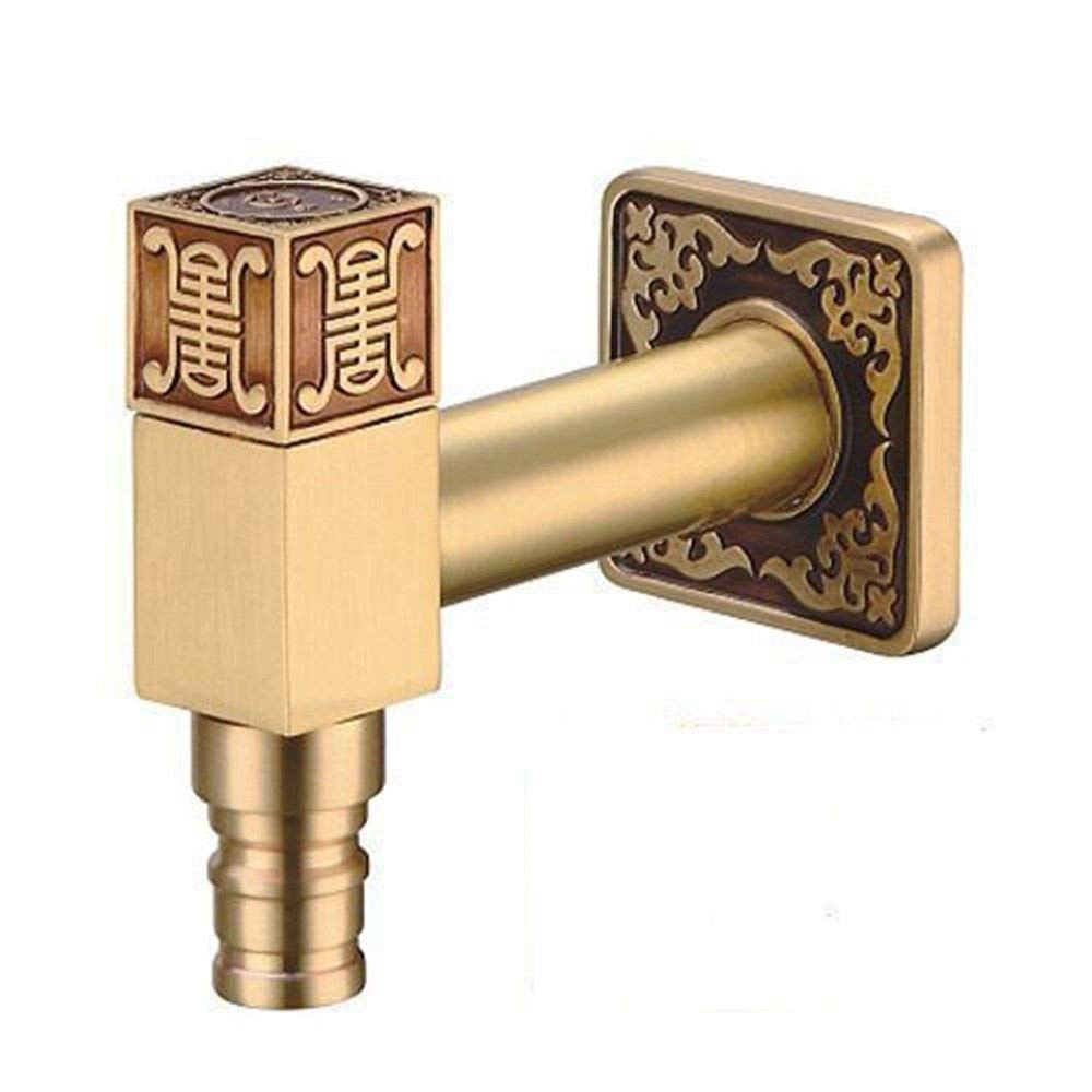 JingJingnet シンクミキサータップ浴室の台所の洗面器の水道水漏れ防止保存水レトロ銅彫刻壁 (Color : B) B07QZBN4JM B