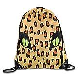 Travel Gym Sack Eyes Of Leopard Lightweight Drawstring Backpack for Man Woman Kid Traveler Review