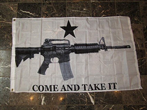 3x5 Realistic M4 Carbine Come And Take It White Flag 3'x5' B