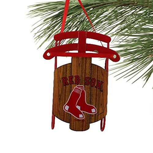 MLB Boston Red Sox Metal Sled Ornament (Christmas Sox Ornament Red)