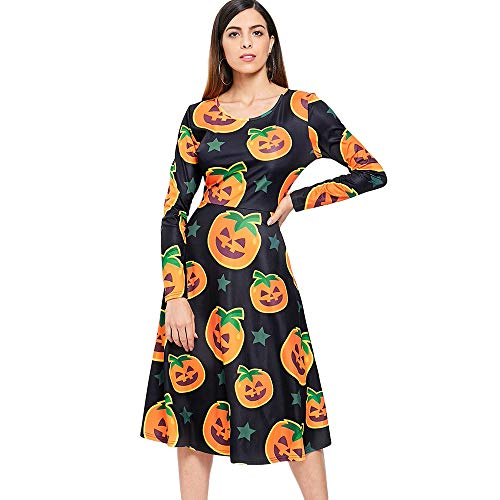 Leomodo Halloween Pumpkin Print Midi Swing Dress for Women Black -